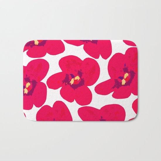 Red Retro Flowers Bath Mat