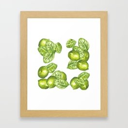Watercolor Limes and Leaves Framed Art Print