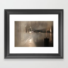 Strolling in the Rain Framed Art Print