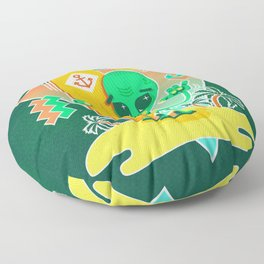 Alien Surfer Nineties Pattern Floor Pillow