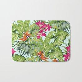 Bird of Paradise Greenery Aloha Hawaiiana Rainforest Tropical Leaves Floral Pattern Bath Mat