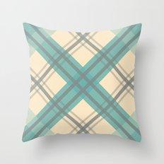 Teal Pastel Plaid Throw Pillow