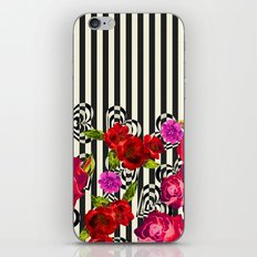 Flowers with Stripes and Hearts iPhone & iPod Skin