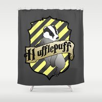 hufflepuff Shower Curtains featuring Hufflepuff Crest by AriesNamarie