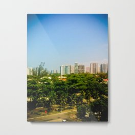 Trees and Pollution Metal Print