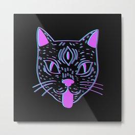 Black Cat Familiar Metal Print