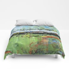 Salvation Green Abstract Contemporary Artwork Painting Comforters