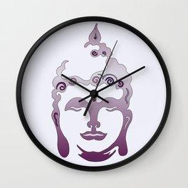 Buddha Head violet - grey Wall Clock