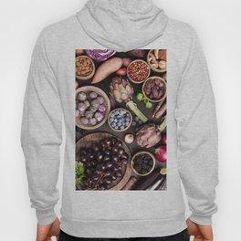 Assortment raw organic of purple ingredients Hoody