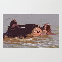 hippo Area & Throw Rugs featuring Hippo by Underlying Art