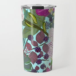 Orchid and Cosmos Flower Botanical Floral Pattern Travel Mug