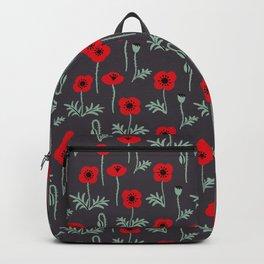 Red poppy flower pattern Backpack