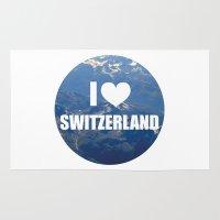 switzerland Area & Throw Rugs featuring I Love Switzerland by Caroline Fogaça