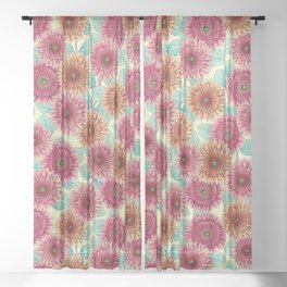 Gerbera Daisies - Pink, Yellow & Teal Floral Sheer Curtain
