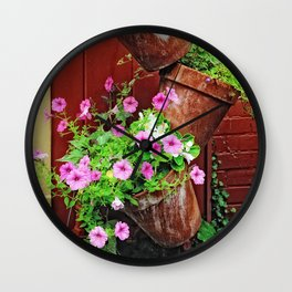 Potted Petunias Wall Clock
