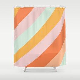 Summer Sorbet Pastel Curved Stripes Shower Curtain