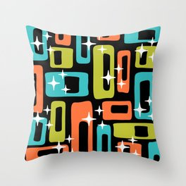 Retro Mid Century Modern Abstract Pattern 222 Orange Chartreuse Turquoise Throw Pillow