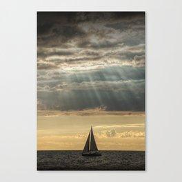Sailboat Sailing in Lake Michigan beneath Sunbeams Canvas Print