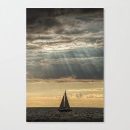 Sailboat Sailing in Lake Michigan beneath Sunbeams Canvas Print