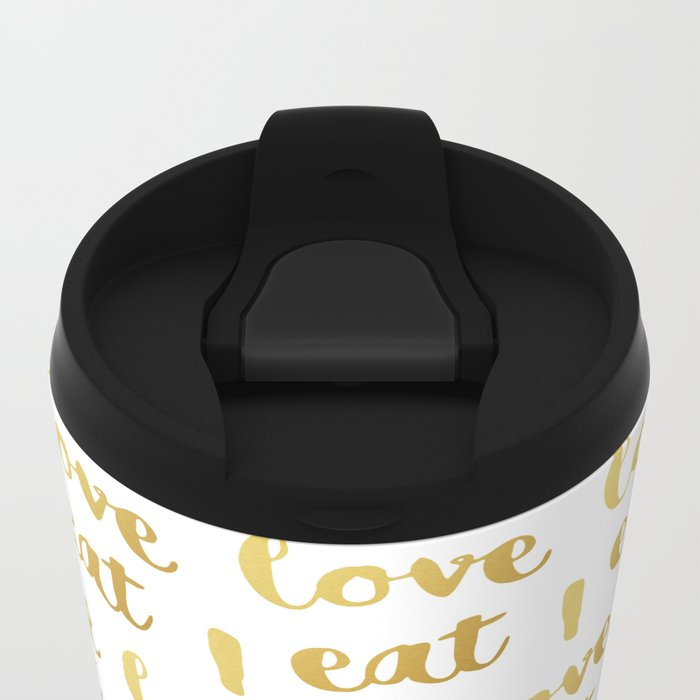 I love eat Golden Version pattern Metal Travel Mug
