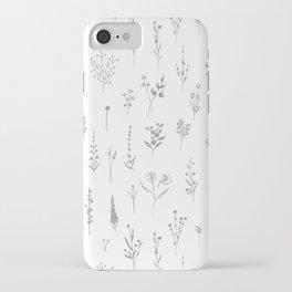 Wildflowers - Grey Flowers iPhone Case
