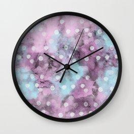 Watercolor Polka Dot Pattern Wall Clock