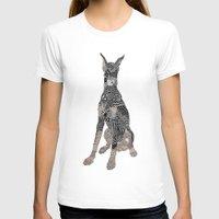 doberman T-shirts featuring Sitting Doberman by K J Guindon