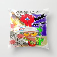 fear and loathing Throw Pillows featuring GONZO Fear and Loathing Print by Just Bailey Designs .com