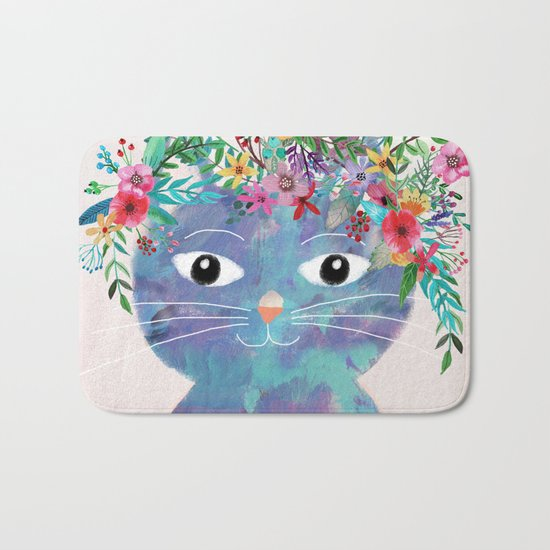 Flower cat II Bath Mat