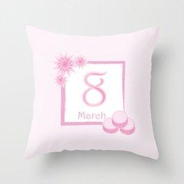 8 March! Women's Day! Bouquet from chrysanthemum, gerbera, watercolor, macaroons Throw Pillow