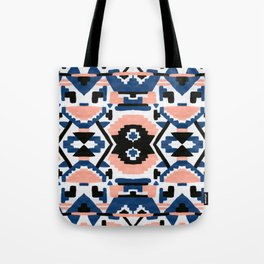 Geometric Aztec - coral and lapis Tote Bag