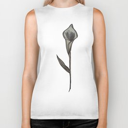 Single Stem Calla Lily Illustration Biker Tank