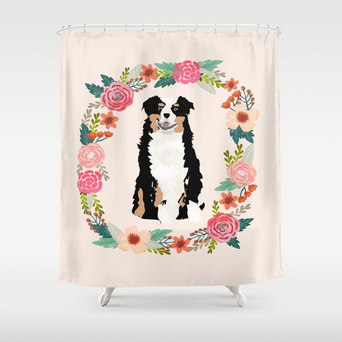 australian shepherd tricolored floral wreath dog gifts pet portraits Shower Curtain