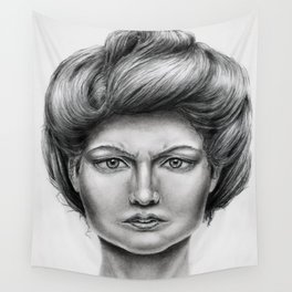 Untitled - charcoal drawing -pretty girl, beauty, woman, angry, gibson girl style, traditional art Wall Tapestry