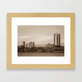 University Tower and Downtown Tulsa Skyline Sepia Framed Art Print