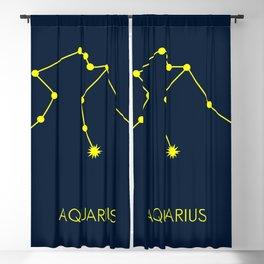 AQUARIUS (YELLOW-NAVY BLUE STAR SIGN) Blackout Curtain
