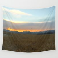 industrial Wall Tapestries featuring Industrial sunset. by Mikhail Zhirnov