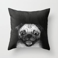 Snuggle pug Throw Pillow