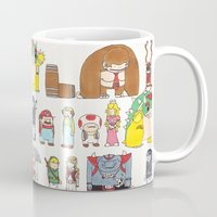 nintendo Mugs featuring Nintendo Characters by Hamburger Hands
