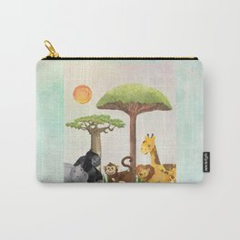 Watercolor Safari Animals Under Exotic Baobab Tree Carry-All Pouch