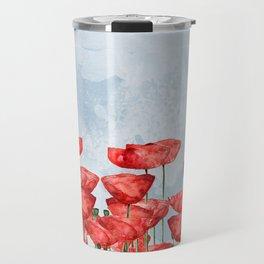 Poppyfield poppies poppy blue sky - watercolor artwork Travel Mug