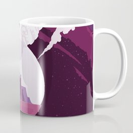 Enceladus Retro Space Poster : Eggplant Purple Pink Coffee Mug