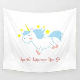 Sparkling Unicorn Wall Tapestry