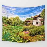 chinese Wall Tapestries featuring Chinese Gardens by Photos By Healy