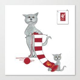 1020 Knitting Cat - Liverpool Fan Scarf Canvas Print