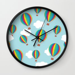 Hot air balloons and clouds - multicolored Wall Clock