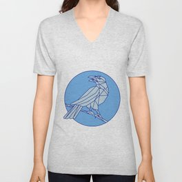 Crow Perching Looking Side Circle Mono Line Unisex V-Neck