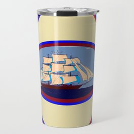 A Nautical Scene with Clipper Ship with Sky Blue Background Travel Mug