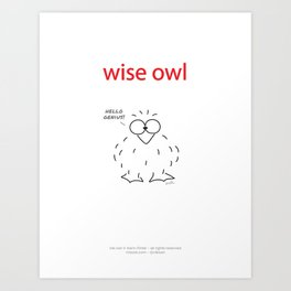 wise owl print Art Print