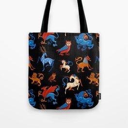 Magic unicorn and gryphon. Medieval fantastic beasts Tote Bag